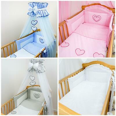 Luxury 7 Piece Embroidered Baby Canopy Bedding Set For Cot / Cot Bed - Hearts