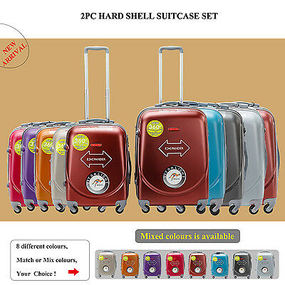 2PC Suitcases Luggage Trolley Travel Bag Set Cabin Carry on hard case