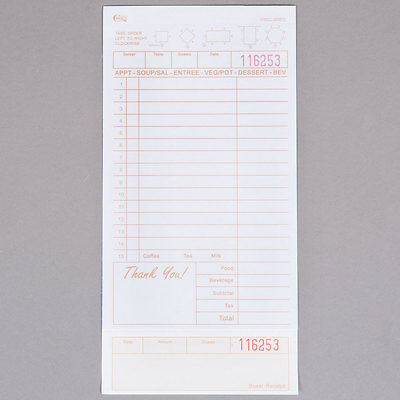 2 Part Tan and White Carbonless Guest Check w/ Bottom Guest Receipt - 2000 / cs