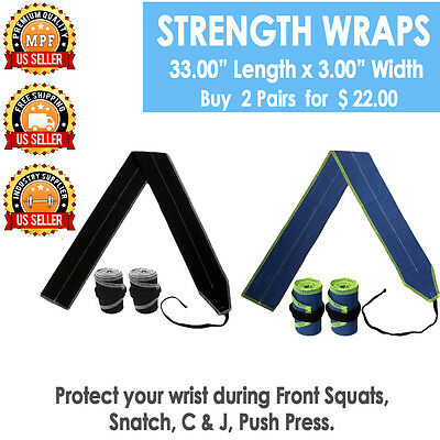 Strength Wraps Crossfit Wrist Wraps Weightlifting Straps Gym Training - 2 PAIRS