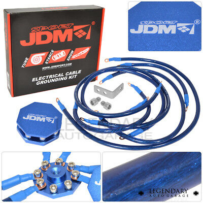 Universal Multiple Point Grounding Wire Kit Performance Cable System Blue