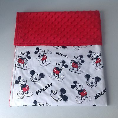 Handmade Baby Bassinet/Cradle/Pram Blanket~Cotton/Minky Dot~Mickey Mouse Print