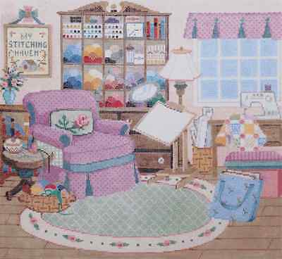 NEEDLEPOINT HANDPAINTED Canvas Sandra Gilmore STITCHING HAVEN Sewing Room NEW