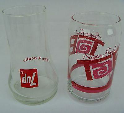 TAB COLA + 7UP The Uncola LOT - Soda Pop Can Shaped Drinking Glass Tumbler