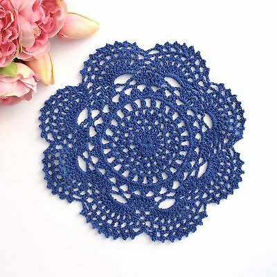 Crochet doily in Dark blue 20 - 22 cm for millinery , hair and crafts