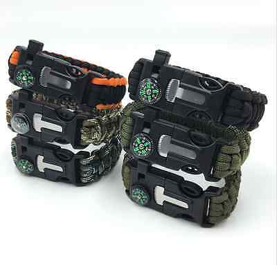 Paracord Survival Bracelet Wristband Rope Flint Fire Starter Whistle Compass Kit
