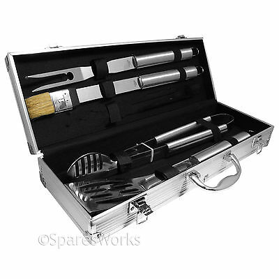 BBQ Barbecue 5 Piece Stainless Steel Tongs Fork Brush Cutlery Tool Set & Case