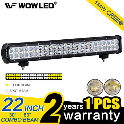 "WOW - 22"" 144W CREE LED Spot Flood Combo Offroad Driving Work Fog Lights Bar 4WD"