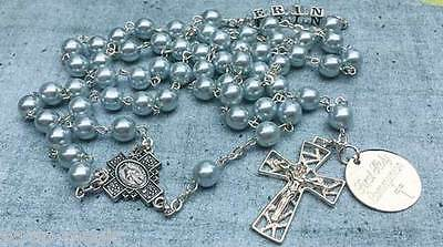 Blue Glass Pearl Catholic Rosary Beads complete with name in silver