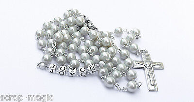 White Glass Pearl Rosary Beads complete with name in silver