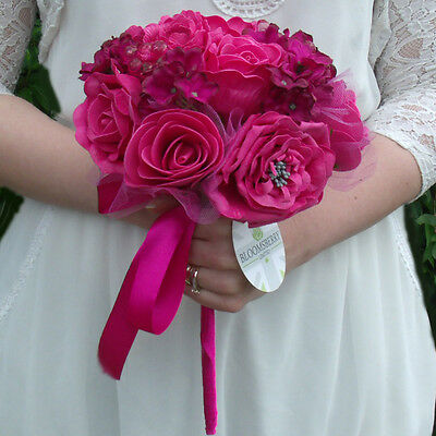 Artificial Cerise / Hot Pink Rose Wedding Bridal Bouquets /Buttonholes /Pomander