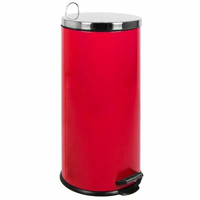 30 LITRE PEDAL BIN Red Inner Bucket Rubbish Waste Recycle Disposal Kitchen