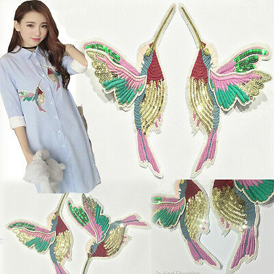2pcs Hummingbirds Sew On Patch Badge Embroidered Cloth Lace Fabric Applique DIY