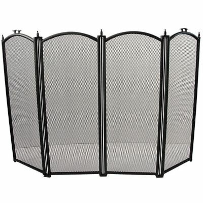 STANTON FIRE SCREEN 4 Panel Folding Black Fireplace Spark Cover Shield Protector