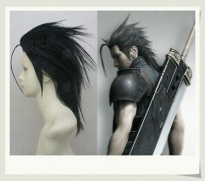 Final Fantasy VII FF7 Zack Fair Black Styled Heat Resistent Cosplay Wig E079