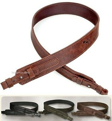 New Double Ply Genuine Leather Shotgun Rifle Sling Strap - Three Colors