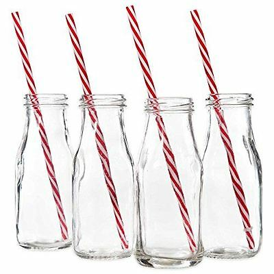 New Set of 4 Clear Classic Glass Milk Bottles With Red Striped Straws
