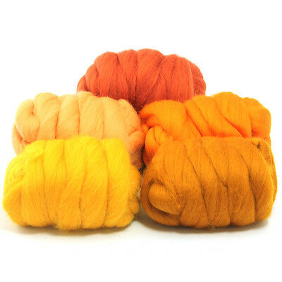 Fresh Orange - Dyed Merino Wool Top - Felting - Roving - Spinning - 250g