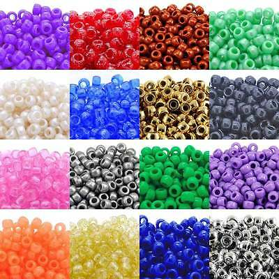 100x Pony Beads 80 Colours - Pearl/Opaque/Glitter/Neon/Trans/Metallic/GlowInDark