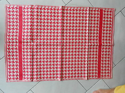 2 Vintage french RED Hand Dish TOWELS great pattern