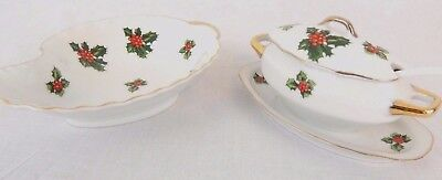 Lefton Porcelain Jam Pot Lid Spoon & Candy Dish Christmas Holly Pattern Vintage