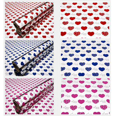 Dot Heart Shape - Metallic Wrapping Paper Gift Wrap Rolls 530/375/265mm x 20M