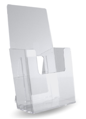 "50 Clear Acrylic Trifold Literature Brochure Holder Display Stand 4"" wide"