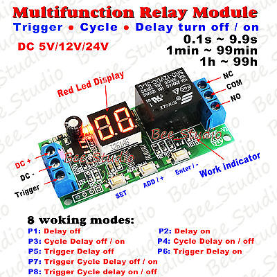 Digital LED Display Infinite Cycle Delay Timer Switch ON/OFF Relay Module 12/24V