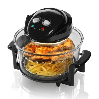 Tower T14001 17Ltr Airwave Low Fat Air Fryer/Halogen Cooker 1300w in Black - NEW