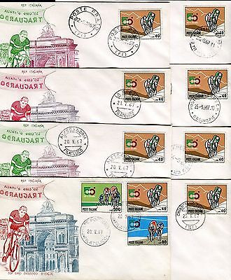 ITALY 1967 50th BICYCLE TOUR of ITALY/BICYCLIST/MOUNTAIN/FDC/CANC.ARRIVAL STEPS