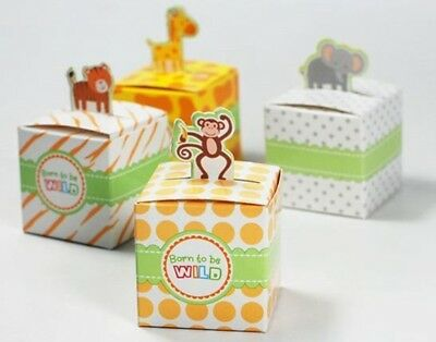 20x Baby Shower Born To Be Wild Jungle Safari Animal Candy Gift Box Party Favor