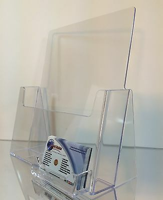 """8.5"""" x 11"""" Magazine Brochure Display with Business Card Holder Clear Acrylic"""