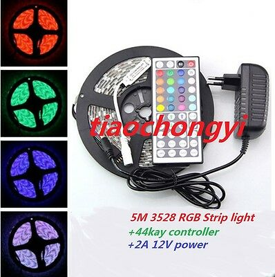 5M 3528 RGB 300Led SMD Flexible Light Strip IP20  +44key IR+ EU/US 12V 2A Power