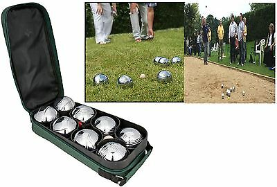 New 8 Ball Steel French Boules Carry Case Set Garden Beach Park Game Outdoor