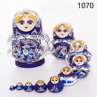 Russian Nesting Dolls 10pcs Wooden Hand Painted Gift Babushka Matryoshka set Toy