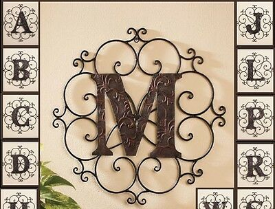 Personalized Bronze Metal Scrolled Monogram Letters Wall Hanging Initials Decor