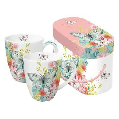 PPD Louise Butterfly Mug Café Tasse Lot de 2 Porcelaine Blanc Multicol. 350 ml