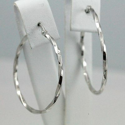 10k White Gold Well-polished Twisted Hoop Earrings (New, 1.26g) #1019