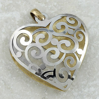 10k White Yellow Gold Filigree Heart Pendant, 3.52gr (new)#563