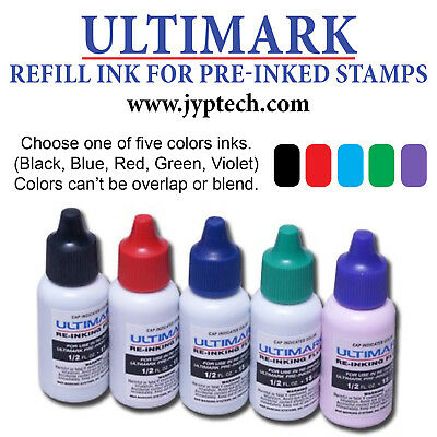 Ultimark Refill Ink for All Pre-inked Stamps, 15ml Bottle, 5 Colors Option