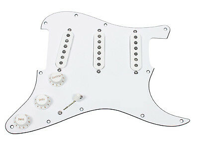 Loaded Strat Pickguard Dimarzio Area 58, 61, 67 with 7way Switch All White