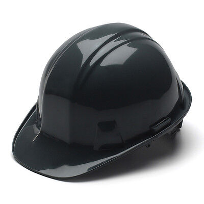 Black Hard Hat Pyramex HP14111 4-Point With Ratchet Suspension Safety Cap Style