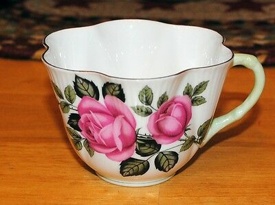 Shelley Pink Capper Rose Tea Cup Green Handle Dainty Shape No Chips Rare!