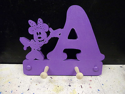 wooden coat pegs hooks hangers personalised childrens initial with minnie mouse