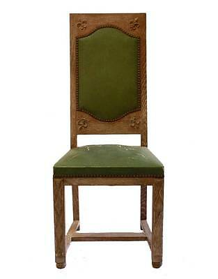 Set 6 Arts & Crafts Dining Chairs Limed Oak Fleur de Lys upholstered to recover