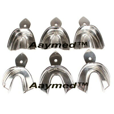 Dental Impression Tray Solid 6 Pcs. Dental Lab Orthodontic Dentist Instruments