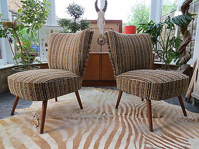Pair Of Striped Vintage East German Bartholomew Cocktail Chairs C1975  (A16/28)