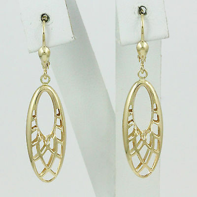 10k Yellow Gold Hanging Earrings, (NEW design drop/dangle leverback, 2.9g) #2975
