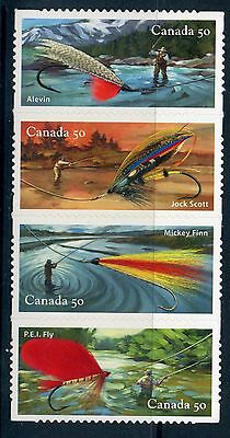 Weeda Canada 2088i VF NH Die cut Fishing Flies strip of 4 from Annual Collection