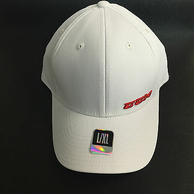CCM Tactel Full Flex Hockey Hat! Fitted Cap SR All Sizes S M L XL White Red